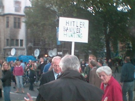 Twats with Hitler Banned Hunting Sign