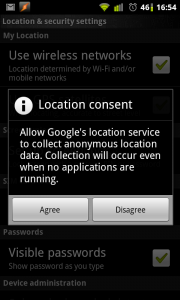 Location consent - Allow Google's location service to collect anonymous location data. Collection will occur even when no applications are running.